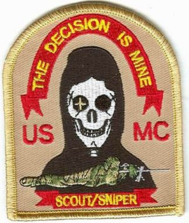 US MARINES SCOUT-SNIPER THE DECISIONIS MINE patch US UCMC