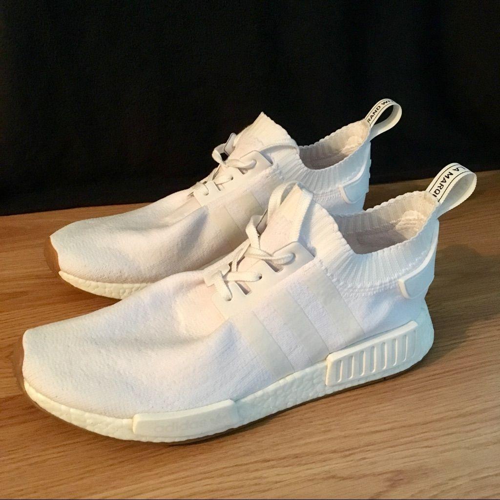 adidas Shoes | Adidas Nmd R1 Primeknit Triple White Gum Sole