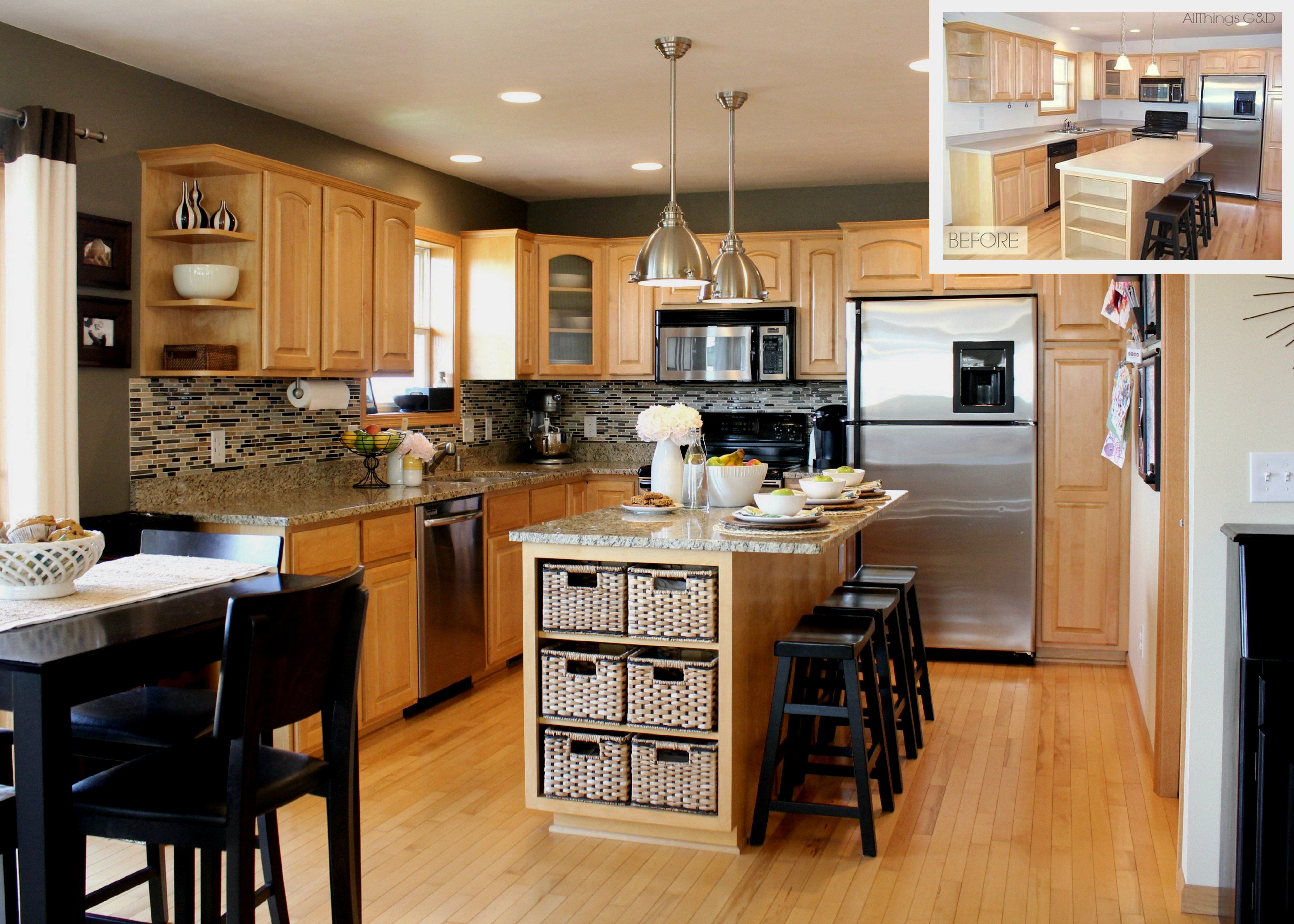 beige wall themes and brown wooden oak and kitchen