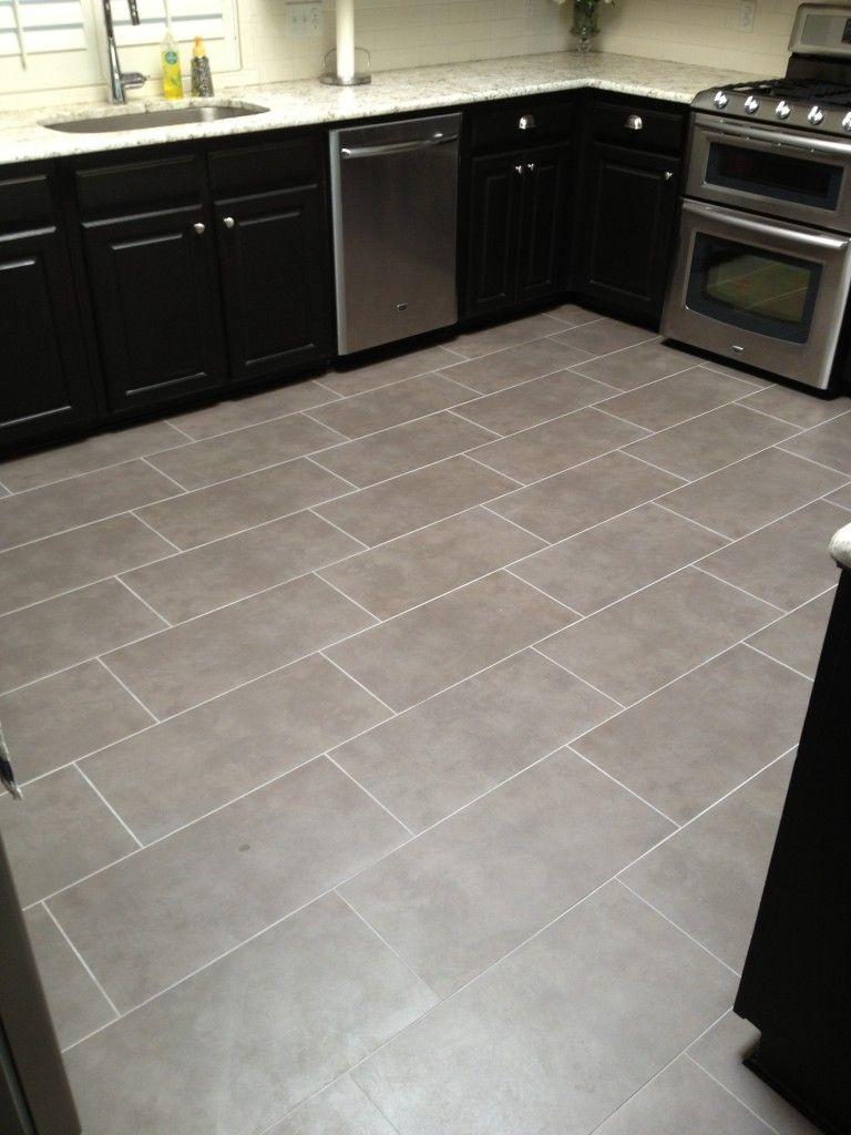Light Grey Rectangular Floor Tile Patterned Kitchen Tiles