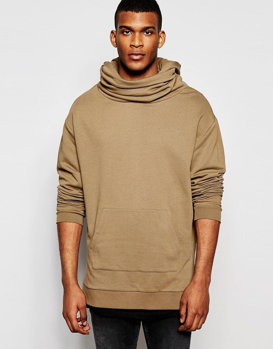ASOS Longline Oversized Hoodie With Funnel Neck & Hood In Camel at asos.com