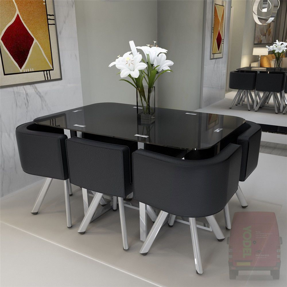 This Magnificent Glass Dining Set With 6 Chairs Has Metal Legs And 10 Mm Safety Glass Premi Space Saving Dining Table Dinning Room Design Dinning Table Design