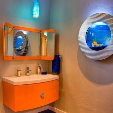 orange cabinet and wall mounted fish tank - Bathroom Kids Bathroom ...