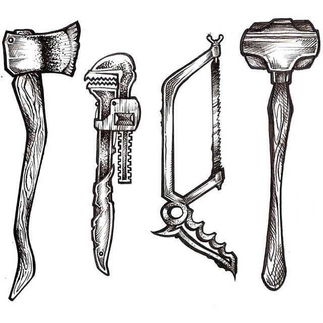 horror weapons saw axe sledge hammer heavy wrench sketch print tattoo designs art inked. Black Bedroom Furniture Sets. Home Design Ideas