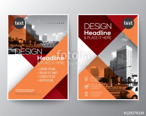 Vector Red and Orange diagonal line Brochure annual report cover - free annual report templates
