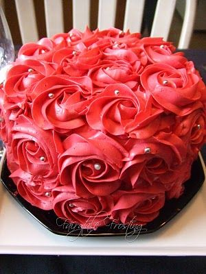 Red Rosette Cake by Fairytale Frosting