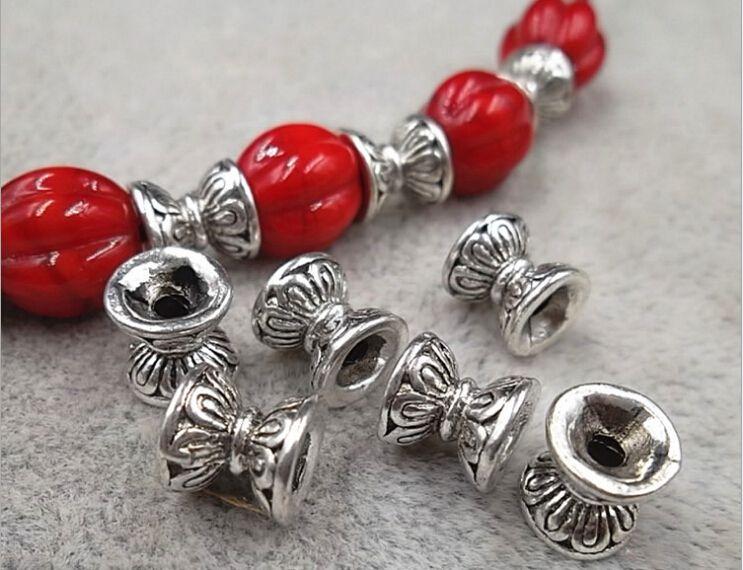 50Pcs Wholesale Silver Lotus Flower Spacer Bead Caps Jewelry Findings DIY