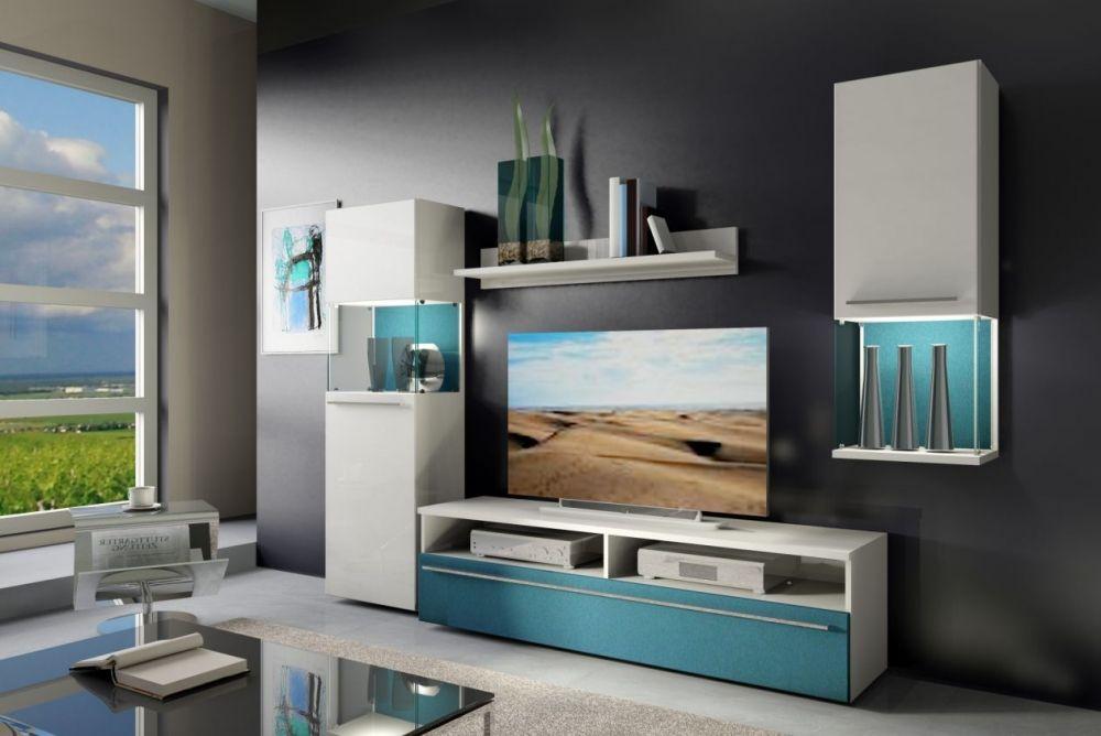 six wohnwand/anbauwand weiss/petrol | schöne lowboards, sideboards, Hause ideen