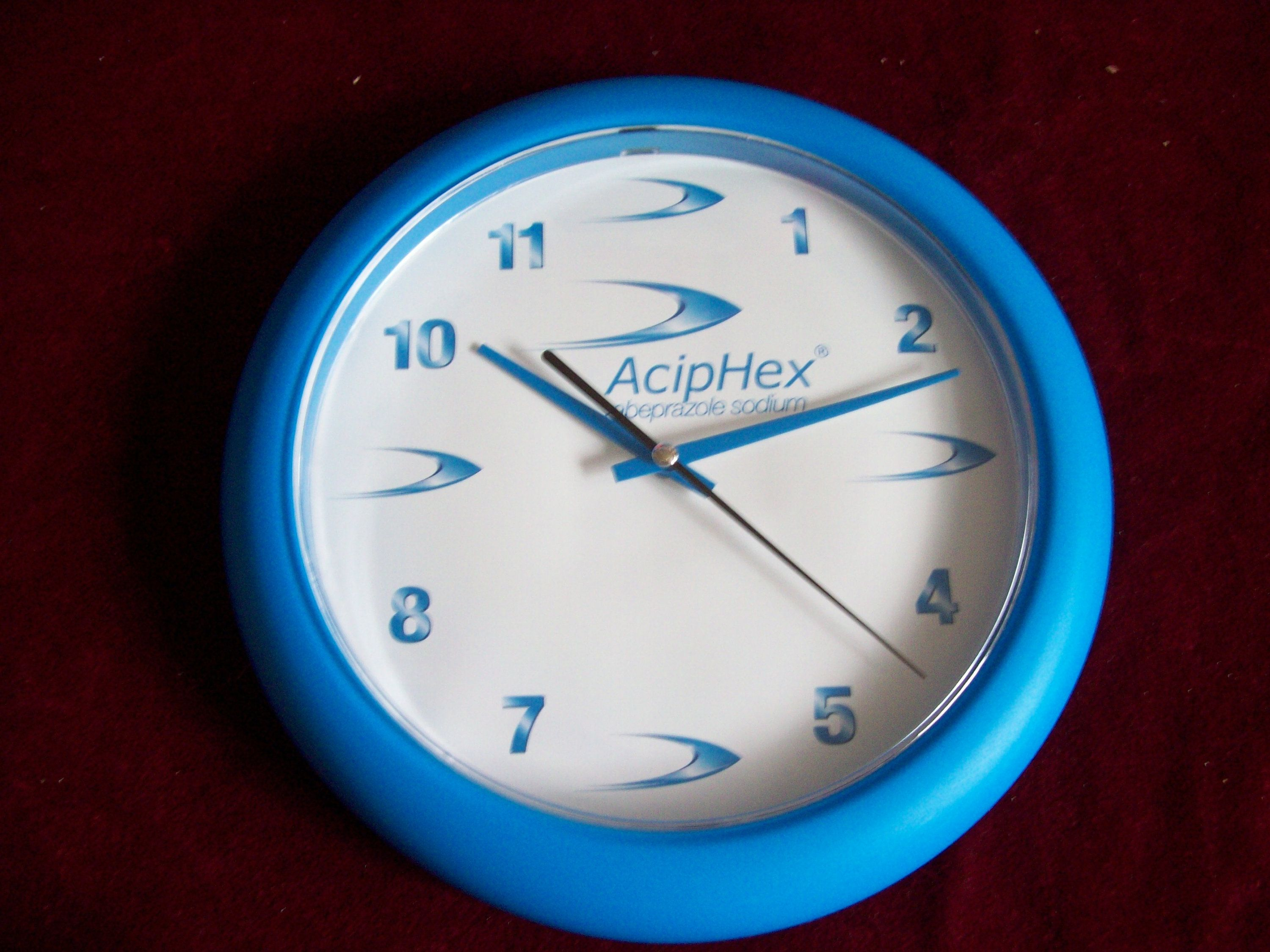 Vintage Aciphex Blue Wall Clock Old Drug Rep Collectible Item 10 X 10 Inch Round New In 2020 Blue Wall Clocks Wall Clock Clock