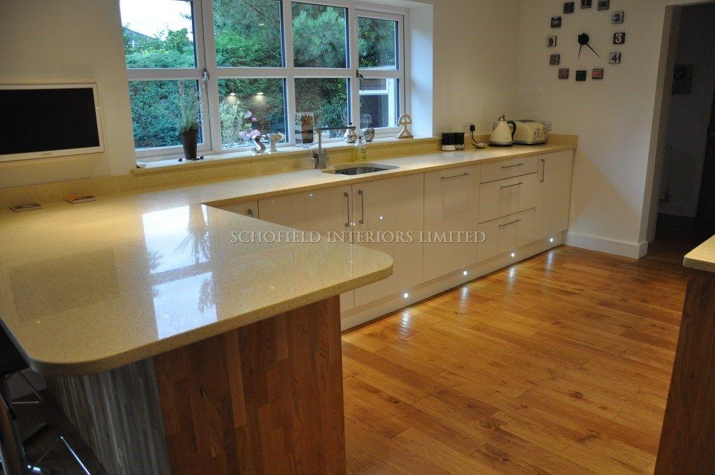 Schofield Interiors Limited » Odyssey Cream Gloss Kitchen With Solid Oak  End Panels U0026 Beige Starlight