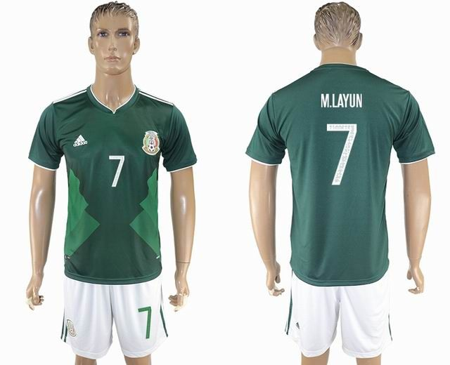 83ae2e06b 2017-2018 Mexico Team  7 M.LAYUN green soccer jersey home