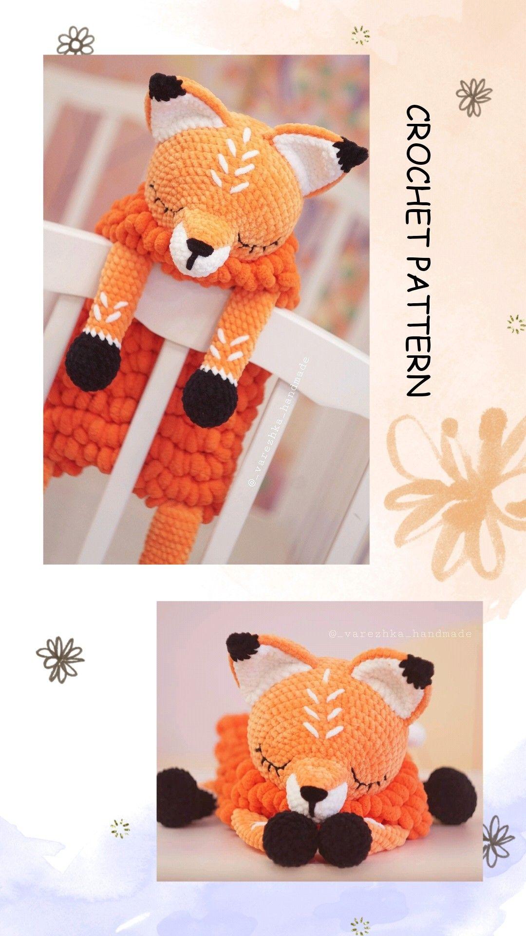 Crochet Fox PATTERN, Amigurumi animals tutorial BIG Softy Fox pattern, Lovey stuffed fox CROCHET