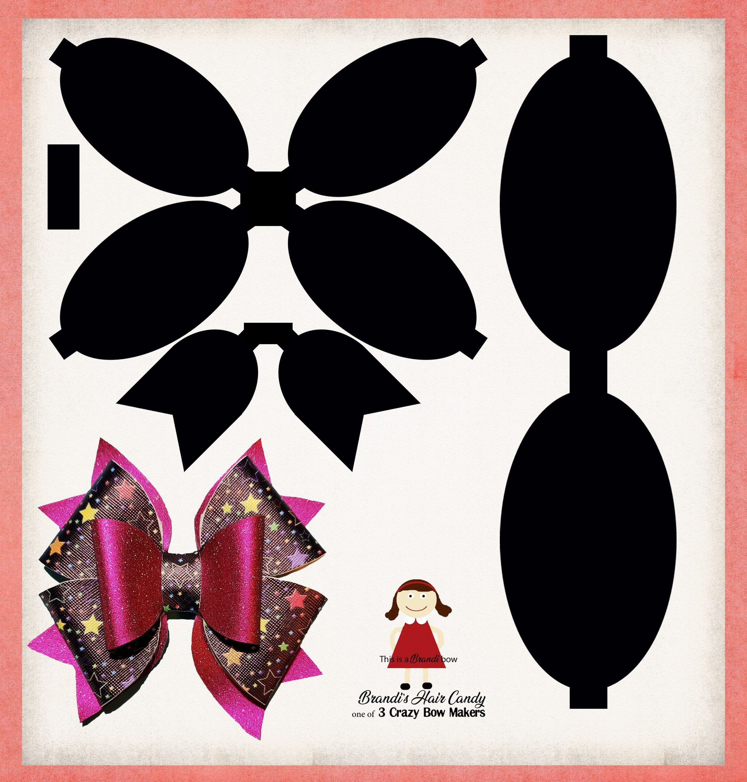 Double Loop Faux Leather Bow Template Svg And Printable Pdf Image 0 Leather Bows Bow Template Making Hair Bows