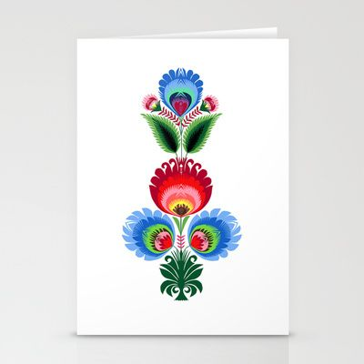 Traditional Polish Folk Art Vertically Stationery Cards By