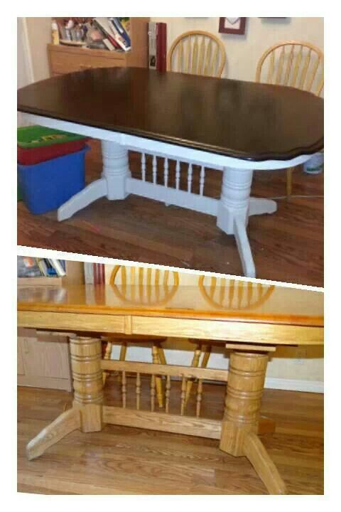 Refinished Dining Table Before And After General Finishes Java Gel Stain For The Top Mystique By Valspar Base