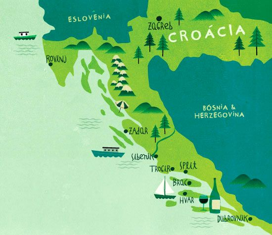 Mapa Tam Nas Nuvens Croatia Much More There Illustrated Map Croatia Map Pictorial Maps