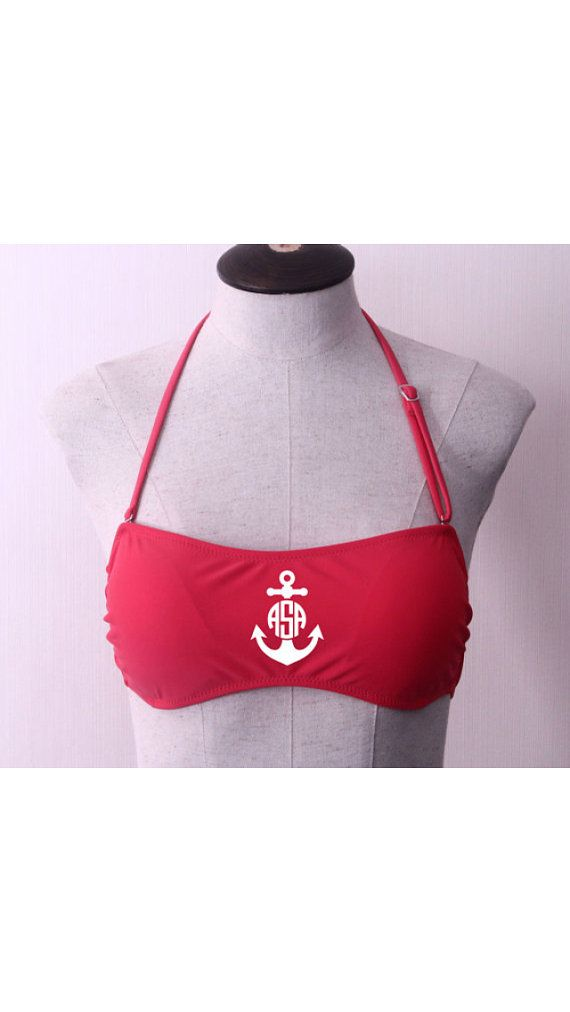 RED Monogrammed Bandeau top by ElsBriarPatch on Etsy, $30.00
