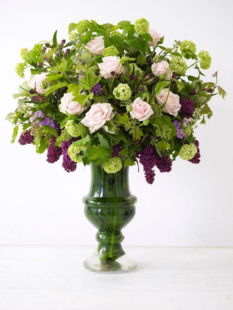 ramo de flores jarron cristal grande ideas