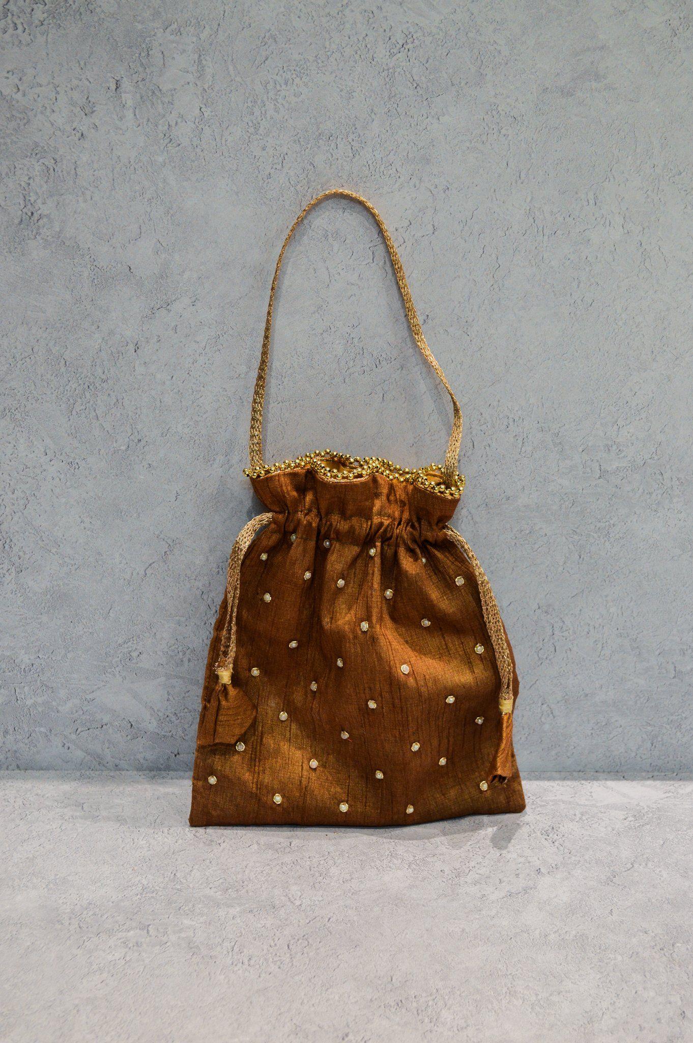 Photo of Classic Silk Potli Bag – Sandalwood