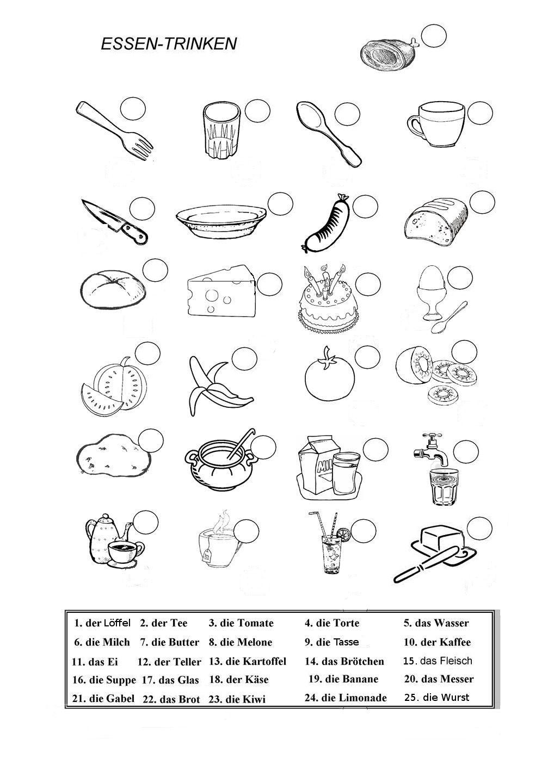 Essen Und Trinken Ausmalen Deutsch Lernen Deutsch Unterricht