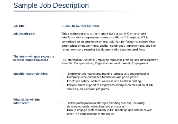 11 Job Description Templates Job Description Template Job Description Job