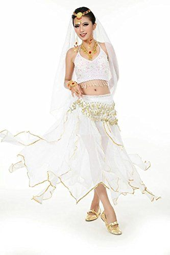Beverly Womens Spin Skirt Belly Dance Costume Set 8 Pieces white