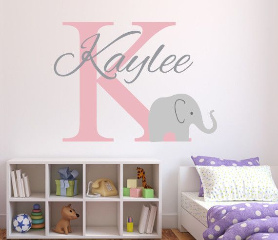 Delightful Elephant Name Wall Decal