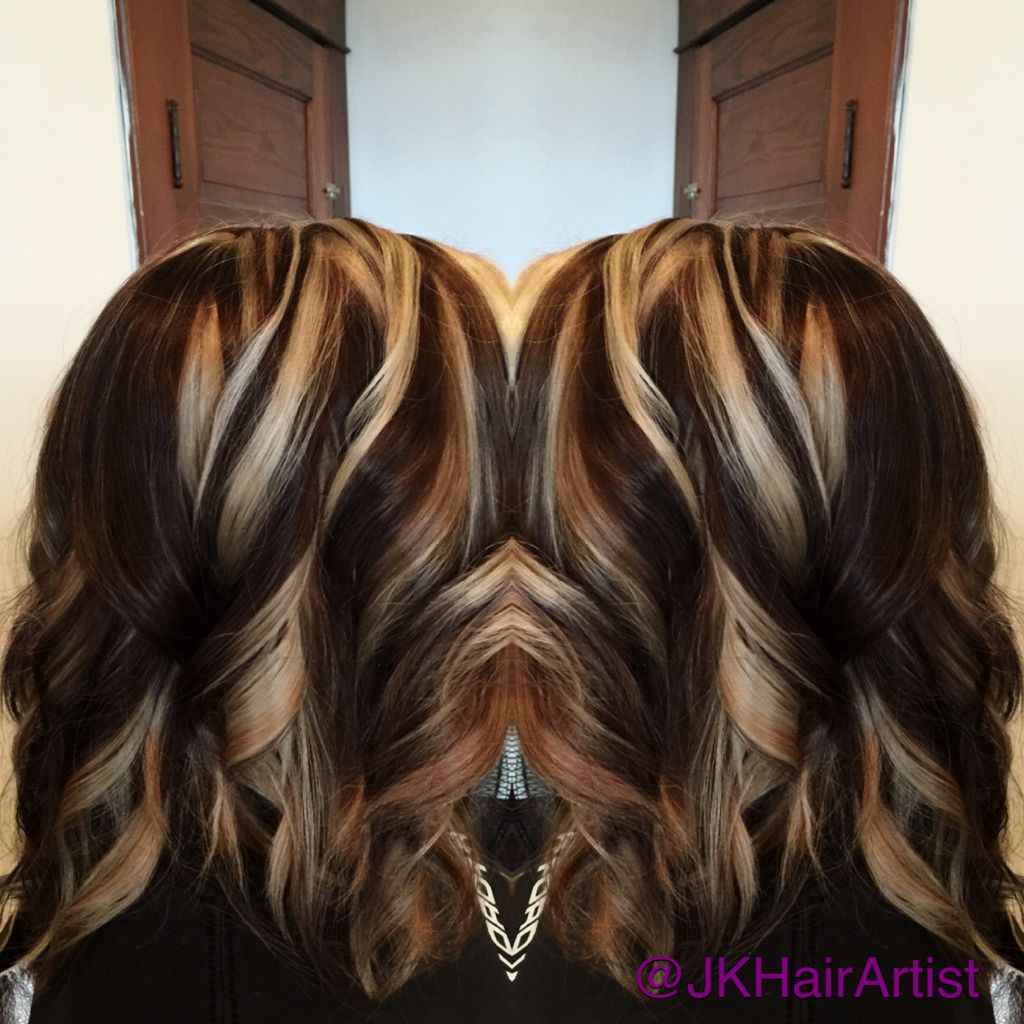 Blonde highlights and rich chocolate brown color using the ...