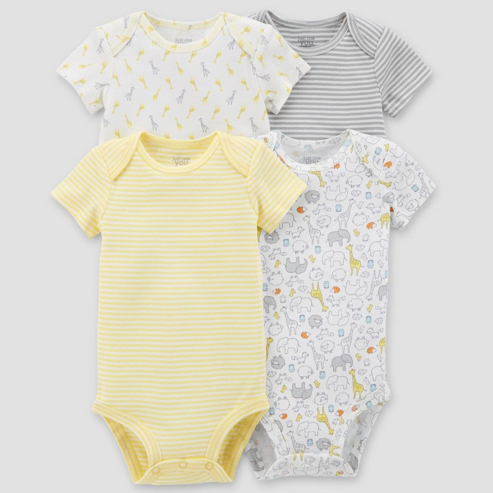 52d0d61b66 Baby 4pk Bodysuit Set - Just One You made by carter s Yellow Newborn ...