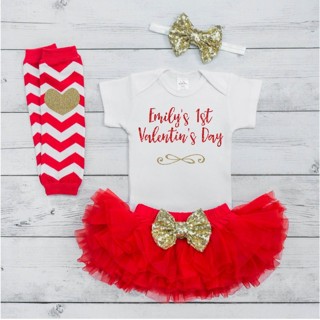 ed7b44b45db5 Baby's First Valentine's Day Outfit Baby Girl Outfit Set with Tutu 1st  Valentines Day Personalized Newborn First Valentines Baby Girl