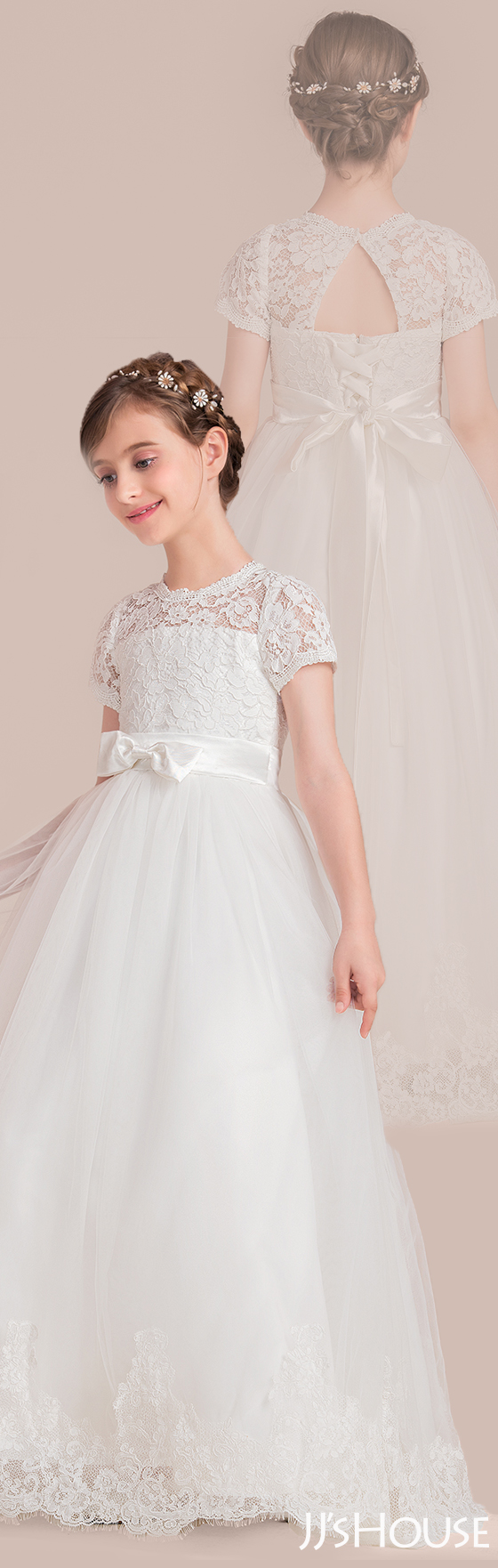 Scoop neck floorlength tulle junior bridesmaid dress with bows