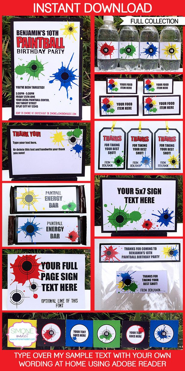 Paintball Party Printables, Invitations & Decorations | Paintball ...