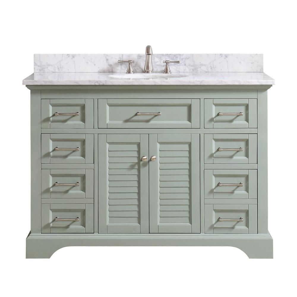 Avanity Colton 49 In W X 22 In D X 35 In H Bath Vanity In Basil Green With Marble Vanity Top In Carrara White With Basin Coltn Vs49 Bg C Marble Vanity Tops Single