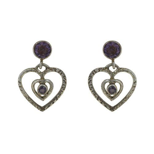 Ornate jewelry earrings in silver with amethyst stones 2 cm: ShalinCraft: Amazon.de: Jewelry