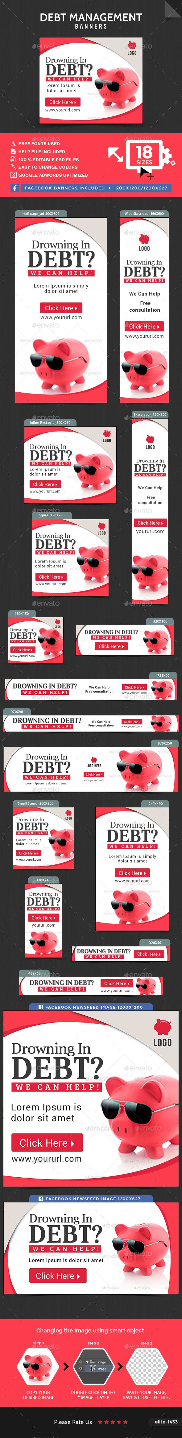 debt management banners social media pinterest banner template