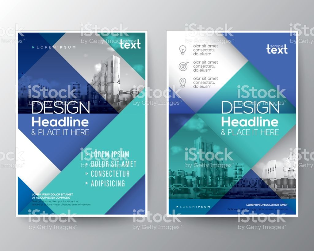 Blue And Teal Diagonal Line Brochure Annual Report Cover Flyer