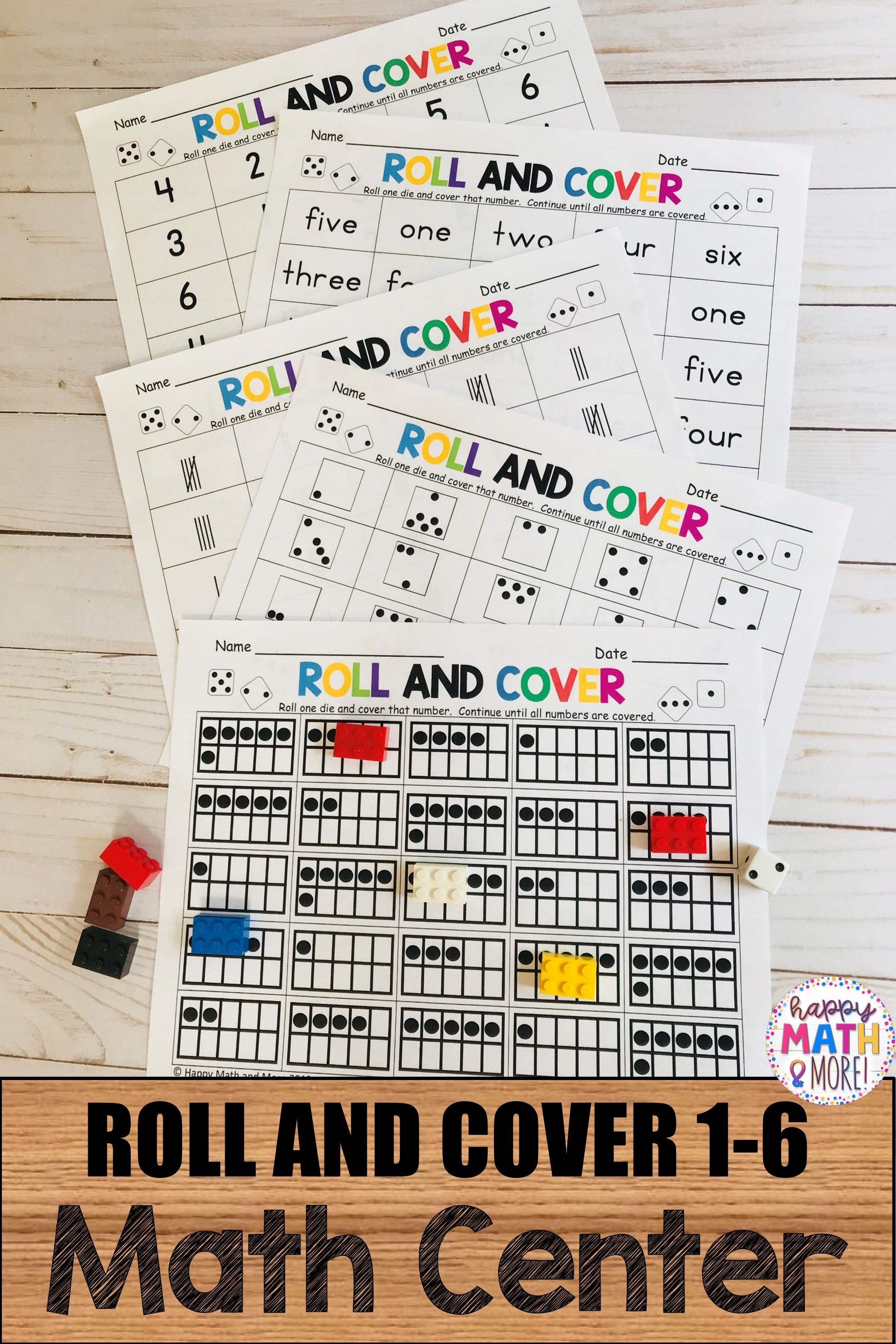 Roll And Cover 1 6 Math Center Math Centers Math Resources Math