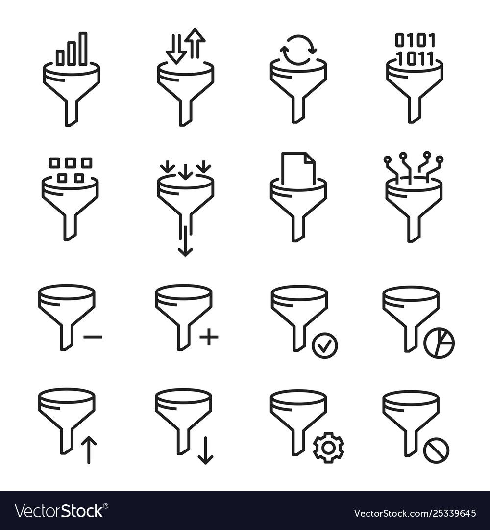 Data Filter Icon Network And Communication Vector Image Affiliate Icon Filter Data Network Ad Line Art Vector Vector Images Compass Icon