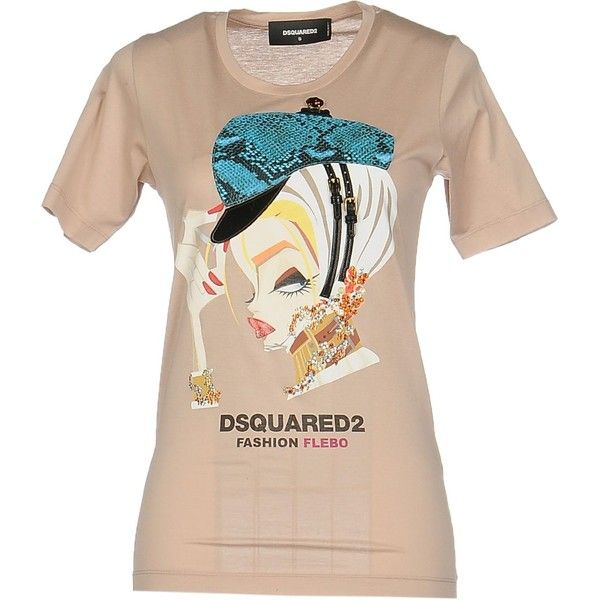 Dsquared2 T-shirt ($150) ❤ liked on Polyvore featuring tops, t-shirts, skin color, cotton tee, dsquared2 t shirt, short sleeve jersey, jersey t shirt and logo top