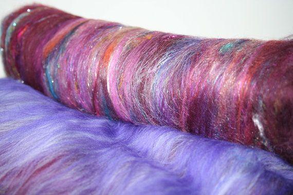 Art Batt Merino Pulled Sari Silk by expertlydyed on Etsy, $18.40