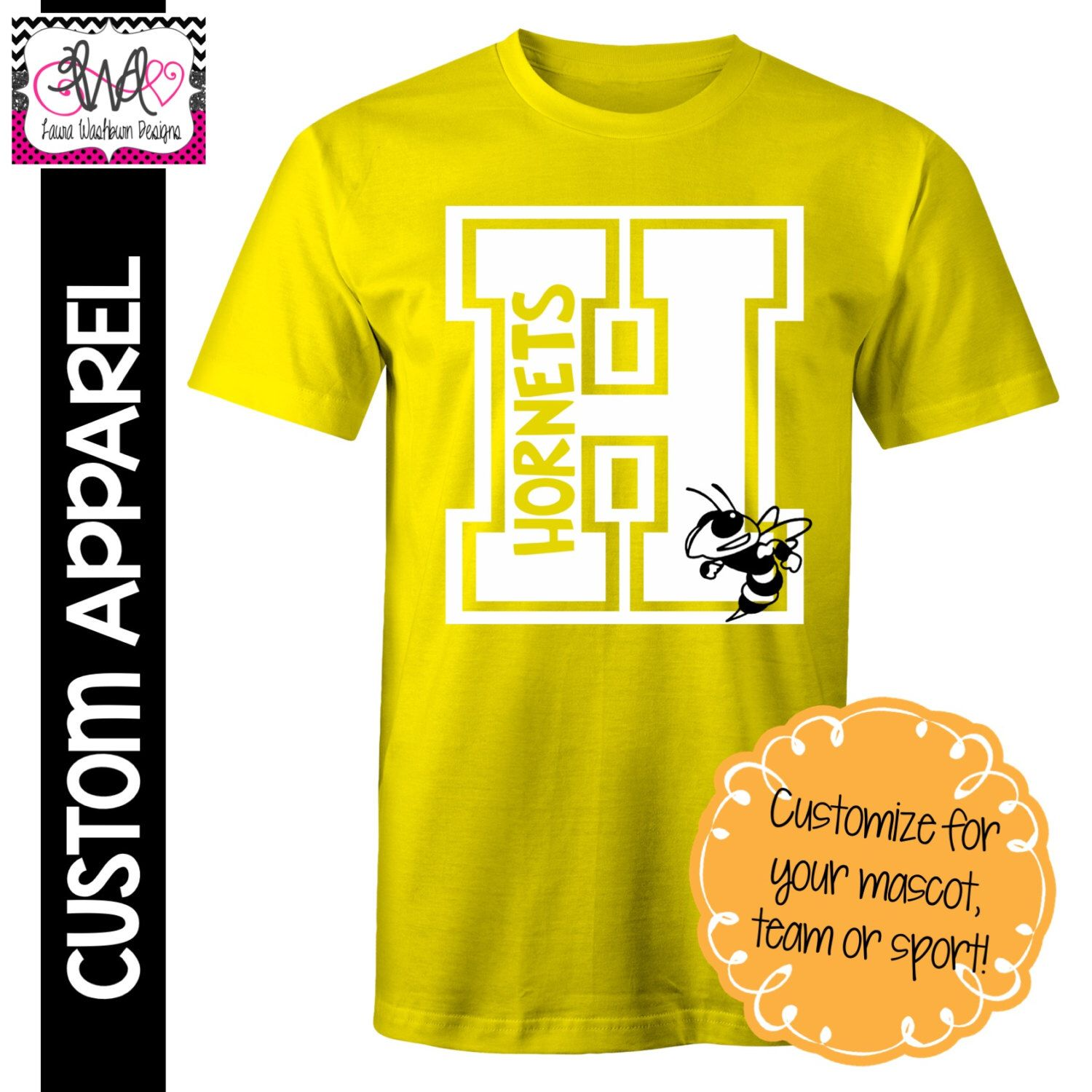 Custom Apparel Custom Block Letter School Spirit TShirt By