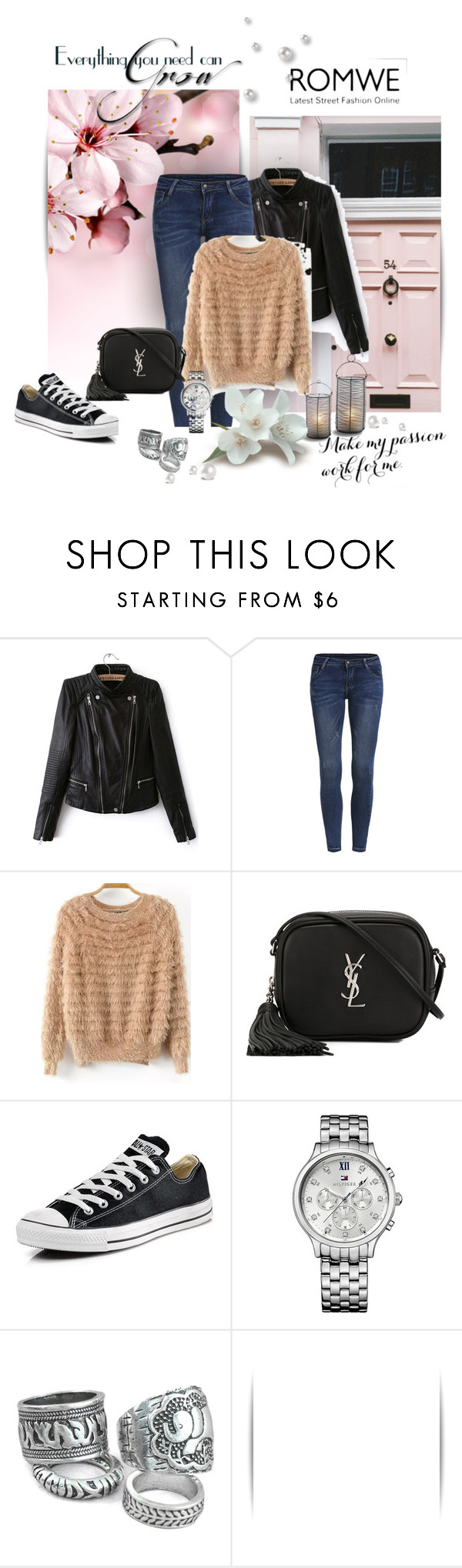 """""""Romwe"""" by zina1002 ❤ liked on Polyvore featuring Yves Saint Laurent, Converse and Tommy Hilfiger"""