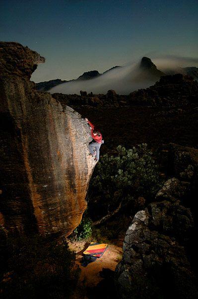 V6 by moonlight, Cedar Wright in South Africa