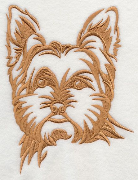 Yorkshire Terrier Dog Silhouette Embroidered Fabric Quilt