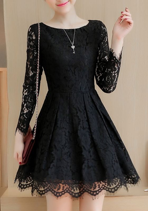 Black Lace Pleated Tutu Elegant Sweet Party Mini Dress - Elegant dresses short, Mini dress party, Lace dress black, Elegant black dress, Black dresses casual, Short dresses - Black Lace Pleated Tutu Elegant Sweet Party Mini Dress Shoulder Width(cm) S36cm; M37cm; L38cm; XL39cm; XXL40cm Bust(cm) S86cm; M90cm; L94cm; XL98cm; XXL102cm Waist(cm) S68cm; M72cm; L76cm; XL80cm; XXL84cmLength(cm) S83cm; M84cm; L85cm; XL86cm; XXL87cm Sleeve Length(cm) S50cm; M51cm; L52cm; XL53cm; XXL54cm Type Slim Material Silk Color Black Decoration Lace, Pleated Pattern Floral Collar Collarless Length Style Above Knee Sleeve Length Long Sleeve