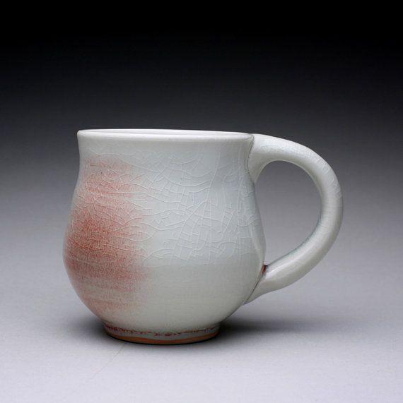 handmade porcelain mug, teacup, ceramic cup with clear crackle and light green celadon glazes