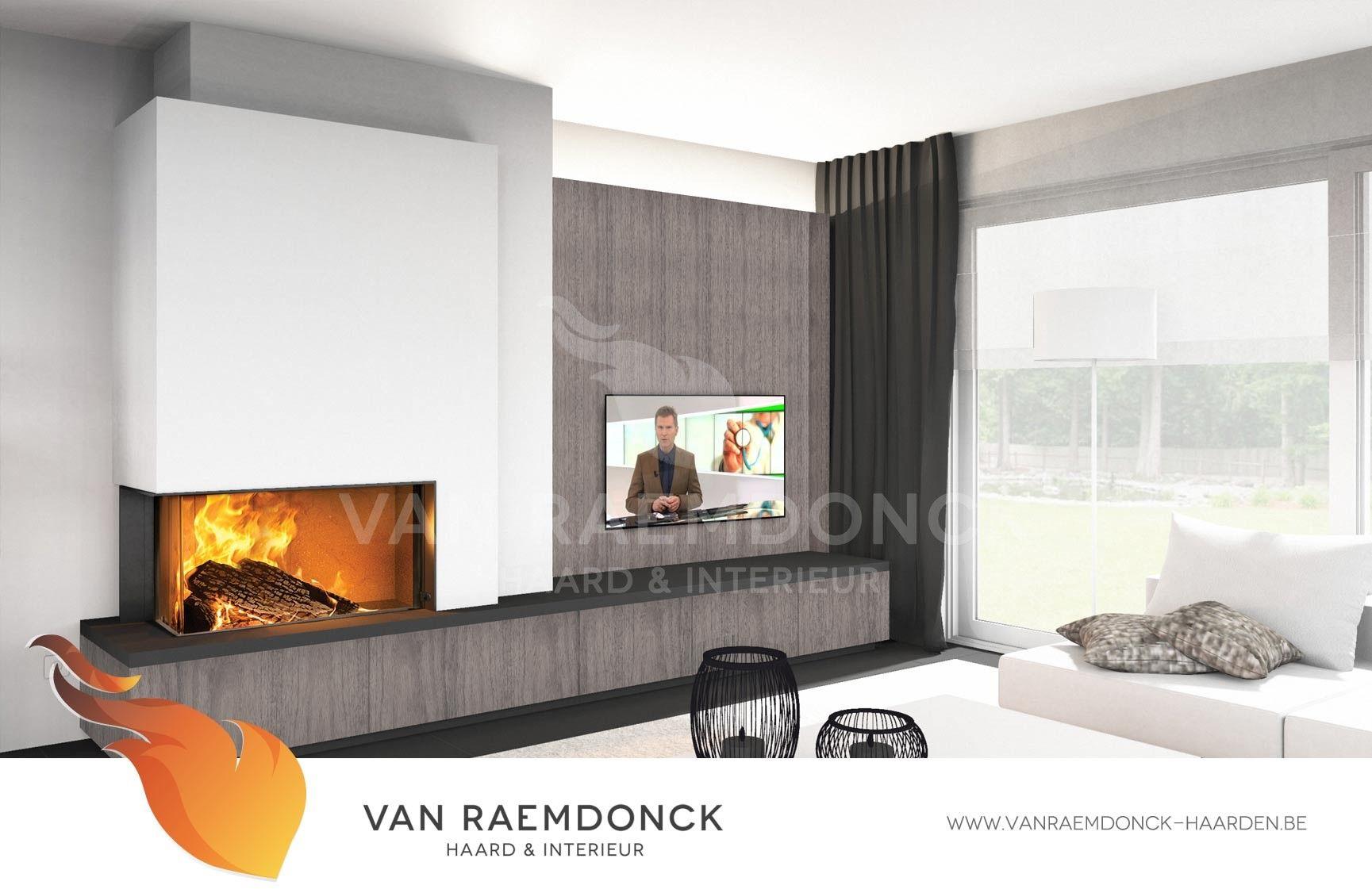 Moderne liftdeurhaard houthaard met tv meubel open haarden pinterest modern zoeken en - Open haard moderne ...