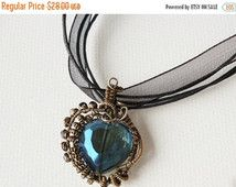 ON SALE Wire wrapped crystal heart pendant , Wire weaved pendant, Patinated handmade jewelry