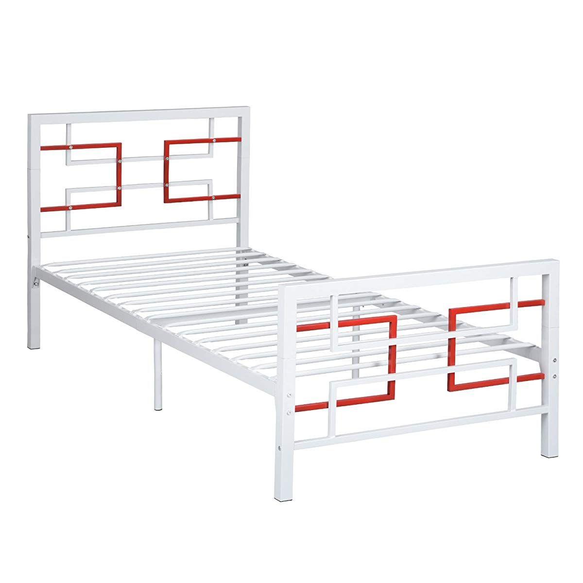 Green Forest Bed Frame Twin Size White Metal Platform Mattress