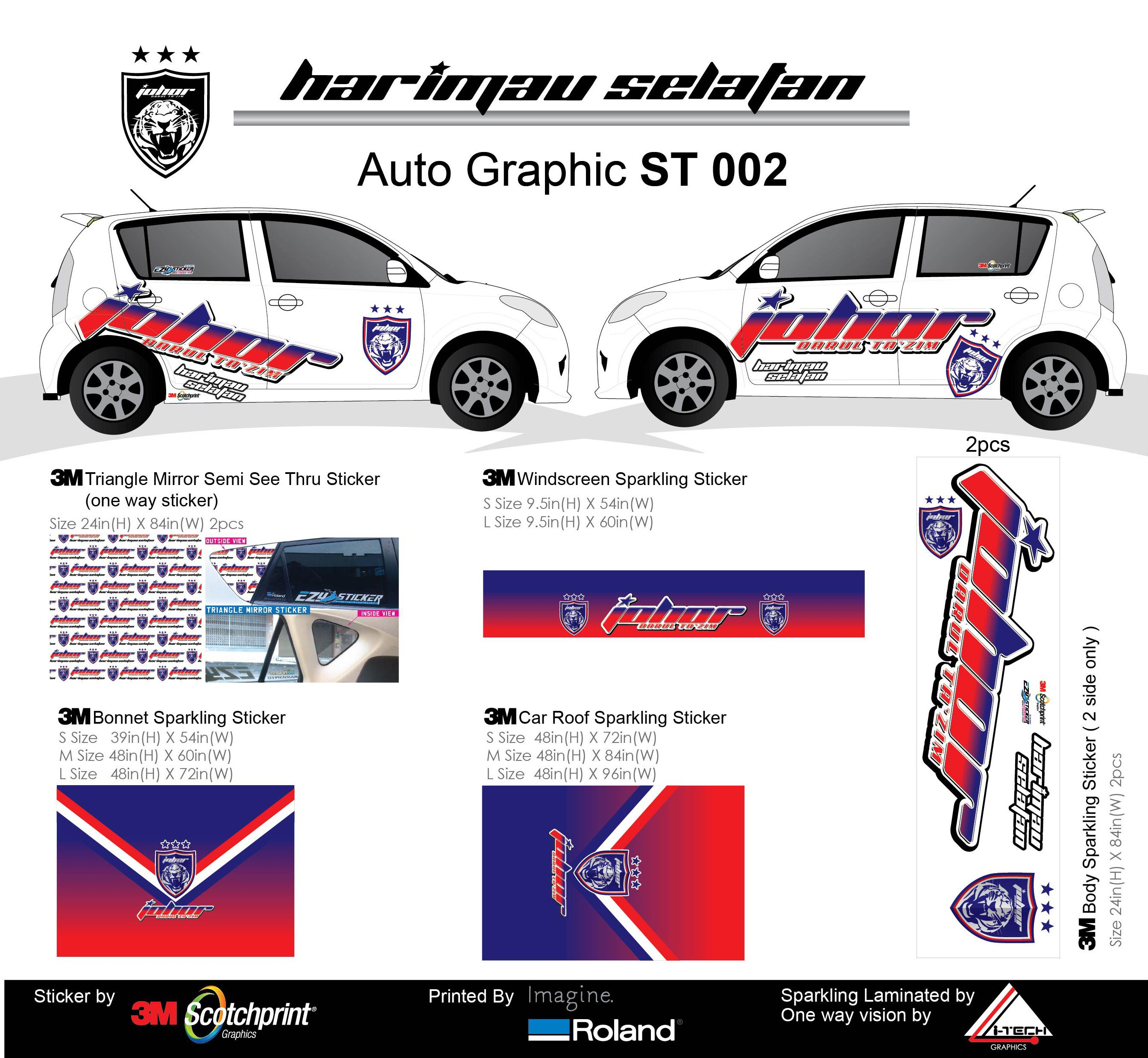 Car mirror sticker design - Produce In Removable 3m Sticker With Sparkling Effect Auto Graphics Harimau Selatan Aka
